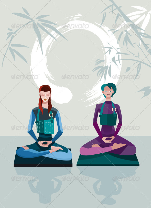 GraphicRiver Two Women Meditating 6991633