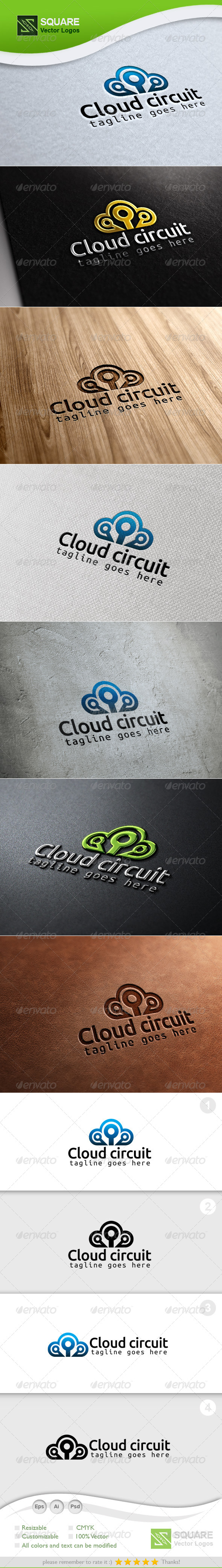 GraphicRiver Cloud Circuit Vector Logo Template 6991969