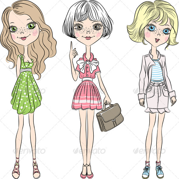 GraphicRiver Fashion Girl Vector Set 6974576