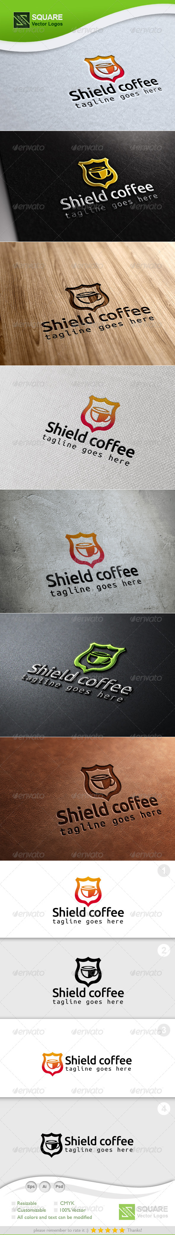 Shield, Coffee Vector Logo Template - Symbols Logo Templates
