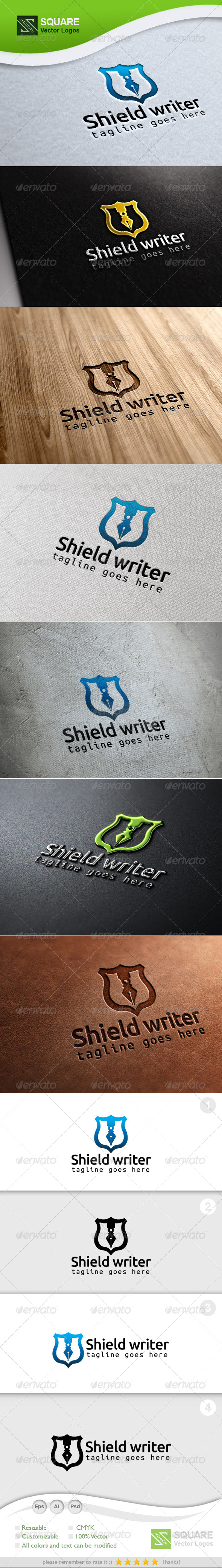 Shield, Pen Vector Logo Template - Symbols Logo Templates