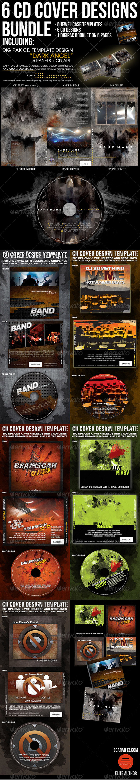 6 CD Cover Design Template Bundle - CD & DVD artwork Print Templates