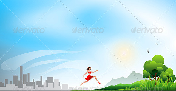 GraphicRiver Running from a City to the Nature 6992940