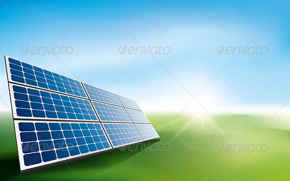 GraphicRiver Solar Panels in a Field of Grass 6992995