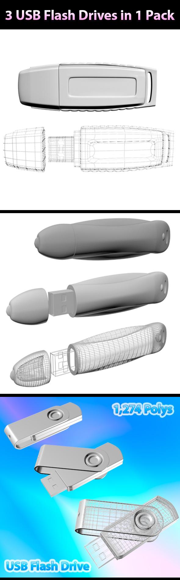 USB Flash Drives - Pack 01 - 3DOcean Item for Sale