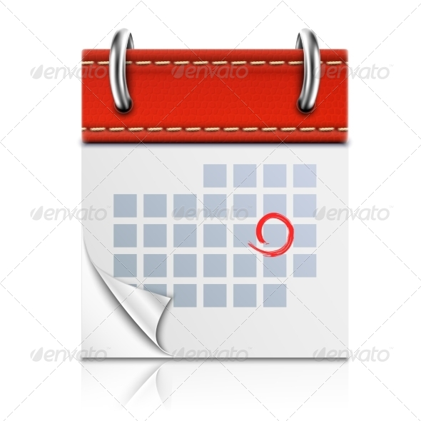 GraphicRiver Realistic Isolated Red Calendar Icon 6993362