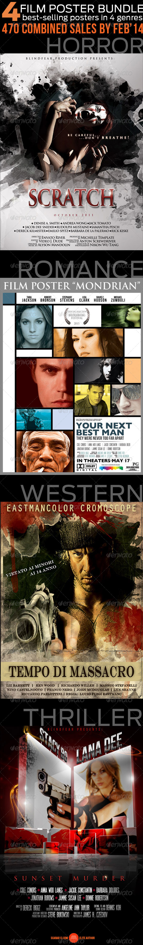GraphicRiver 4 Film Poster Bundle 6993562