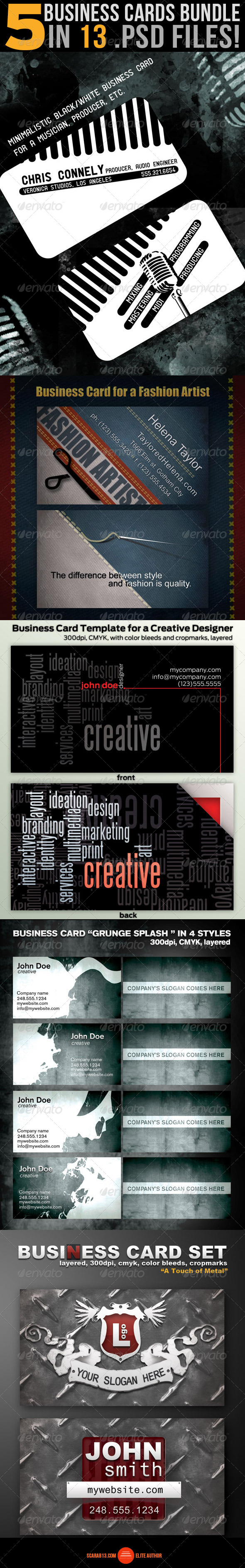 GraphicRiver 5 Business Card Design Bundle 6993708
