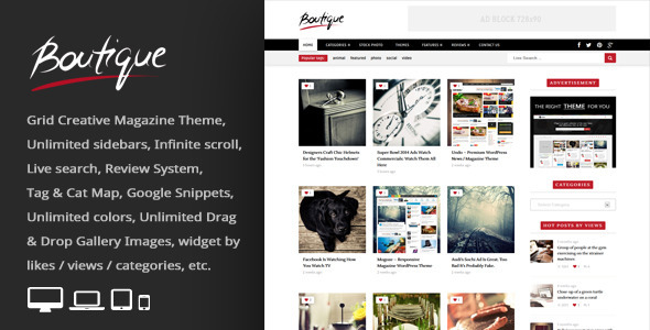 ThemeForest Boutique Grid = Creative Magazine WordPress Theme 6953175