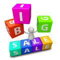 3D People with word big sale made from colorful blocks - PhotoDune Item for Sale