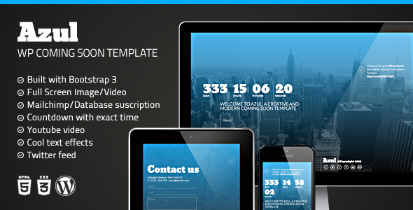 CodeCanyon Azul Responsive WordPress Coming Soon Plugin 6994669