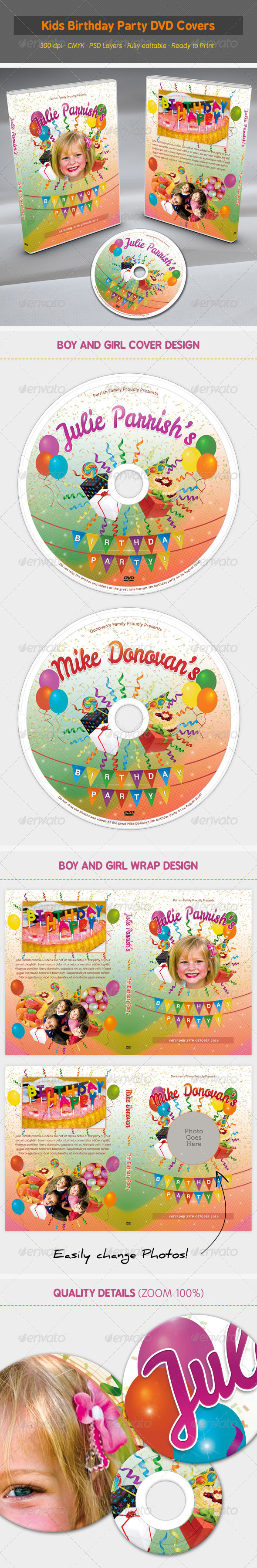 GraphicRiver Kids Birthday Party DVD Covers 6995350