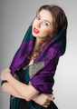 pretty woman wearing scarf -studio shot on grey background - PhotoDune Item for Sale