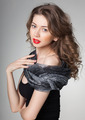 pretty woman wearing scarf -studio shot on grey background - PhotoDune Item for Sale