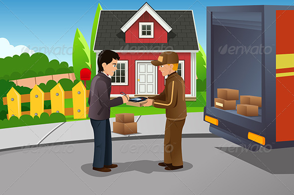 GraphicRiver Mailman Delivering a Package 6995478