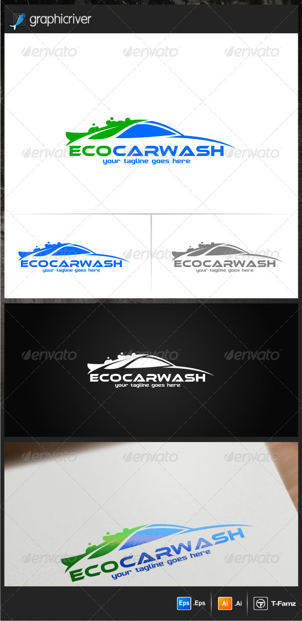 GraphicRiver Eco Car Wash Logo Templates 6995958