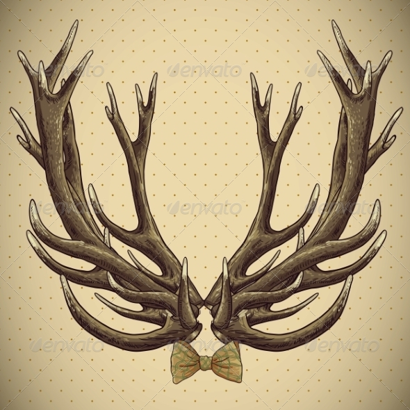 GraphicRiver Hipster Vintage Background with Deer Antlers 6996015