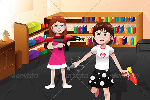 GraphicRiver Girls Playing with Boys Toys 6996028