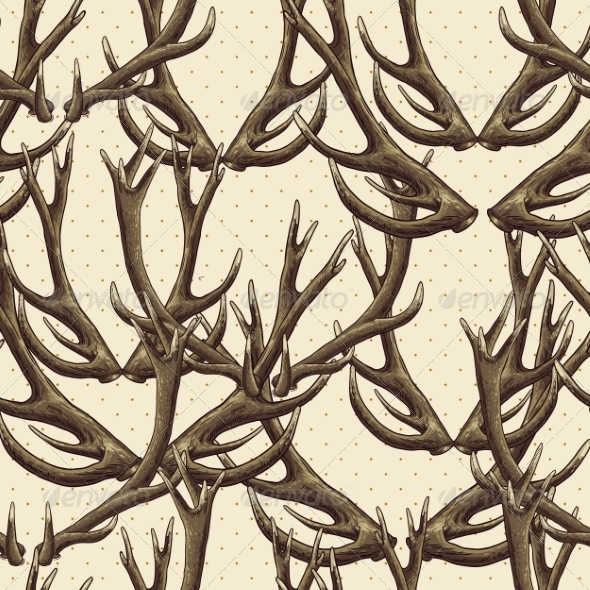 Seamless Background with Deer Antlers