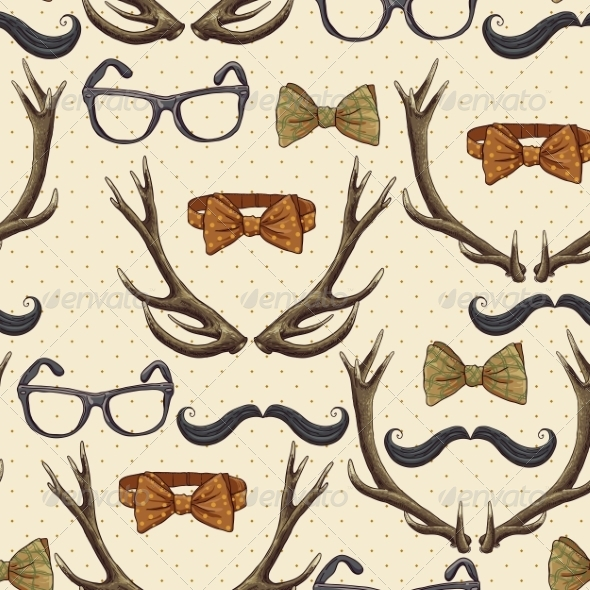 GraphicRiver Seamless Hipster Vintage Background with Antlers 6996252