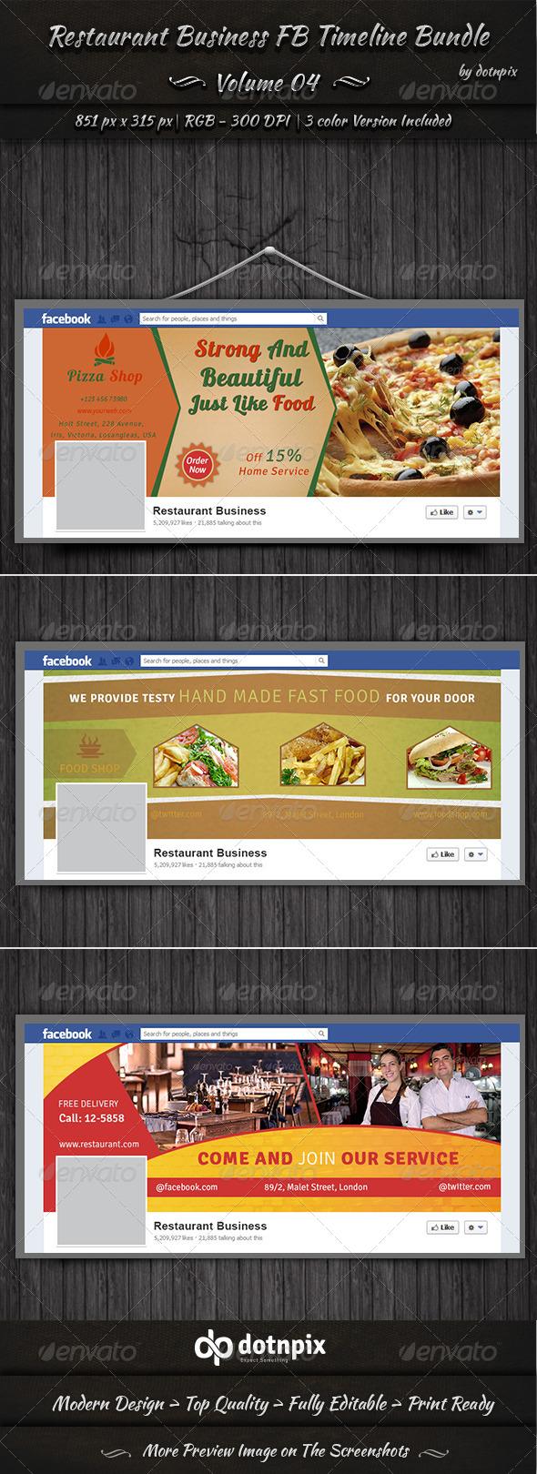 GraphicRiver Restaurant Business FB Timeline Bundle Volume 4 6996260