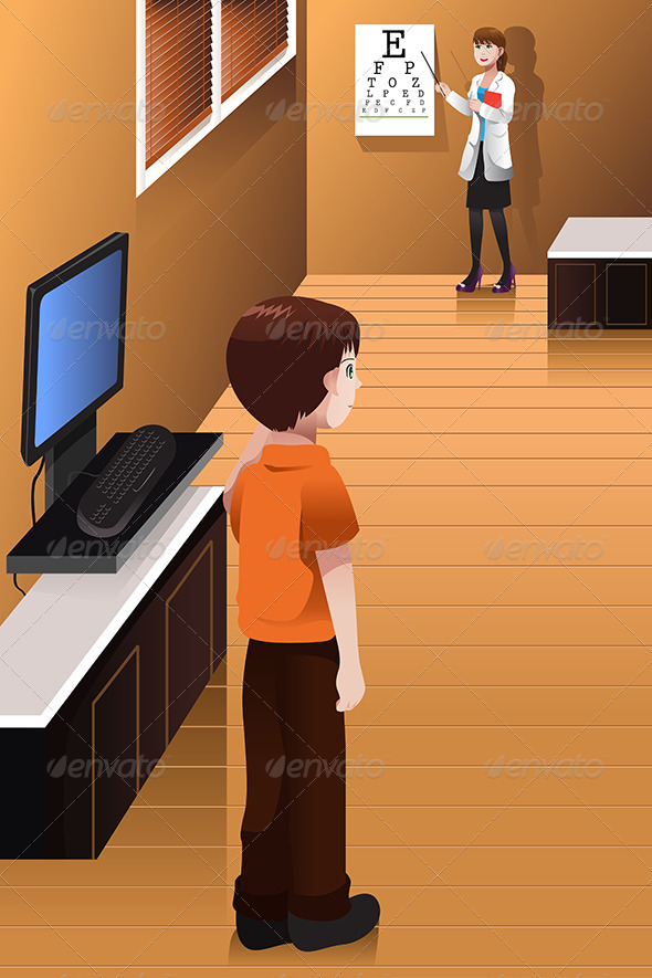 GraphicRiver Boy Having His Eyes Checked at the Doctor Office 6996331