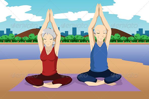 GraphicRiver Senior Couple Doing Yoga Exercise 6996384
