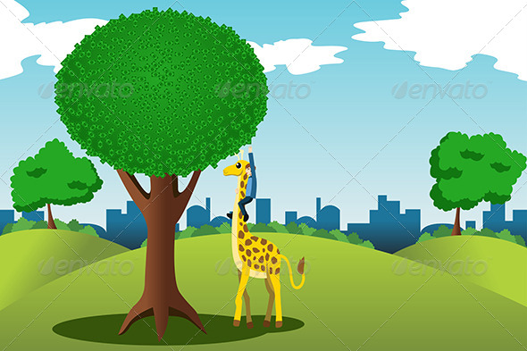GraphicRiver Man Reaching for Money on a Tree 6996420