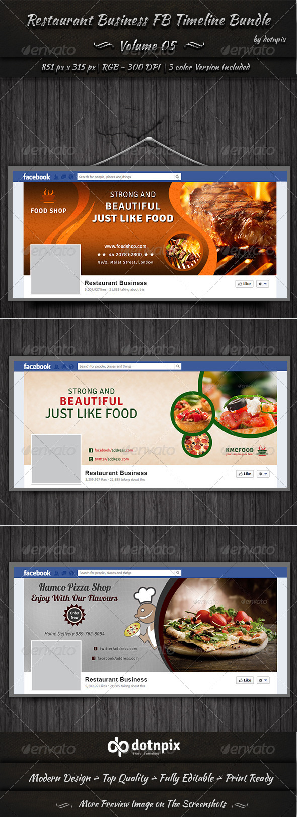 GraphicRiver Restaurant Business FB Timeline Bundle Volume 5 6996443