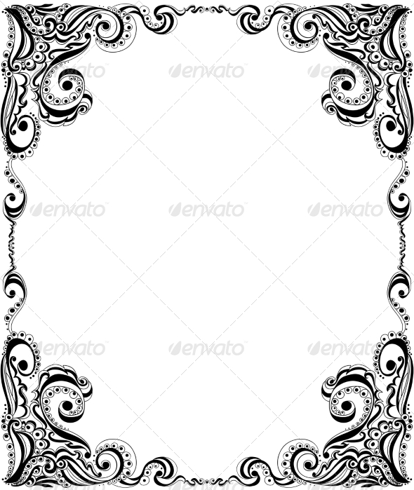 Template Frame Design for Card Floral Pattern