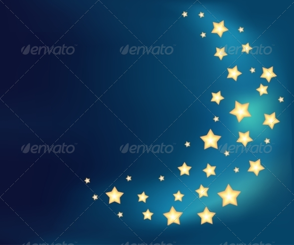 GraphicRiver Background with a Moon Made of Cartoon Stars 6996755
