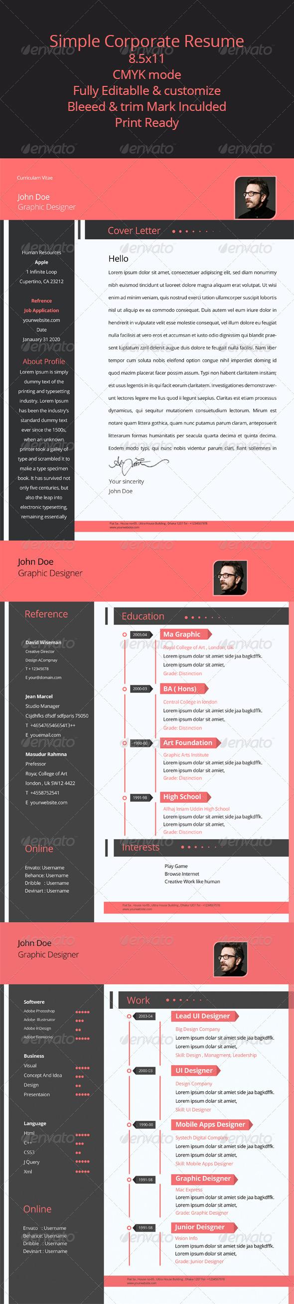 GraphicRiver Corporate Resume Design 6997013