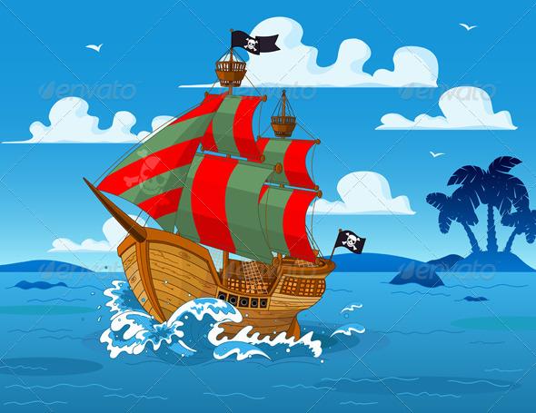 GraphicRiver Pirate Ship at Sea 6997171