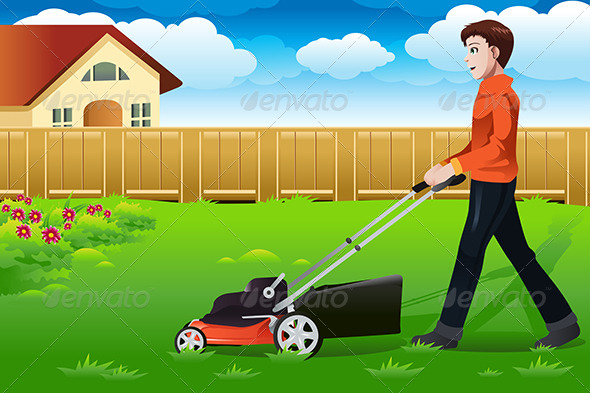 GraphicRiver Man Mowing the Lawn 6997235