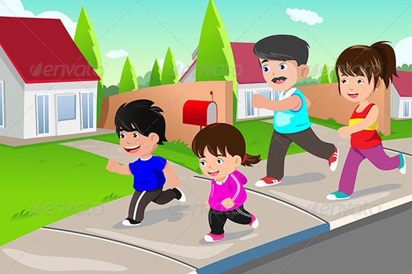 GraphicRiver Family Running Outdoor in a Suburban Neighborhood 6997324