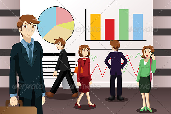 GraphicRiver Business People Walking Among Large Screens 6997537