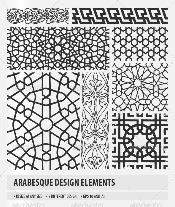 Arabesque design elements graphicriver for Arabesque style decoration