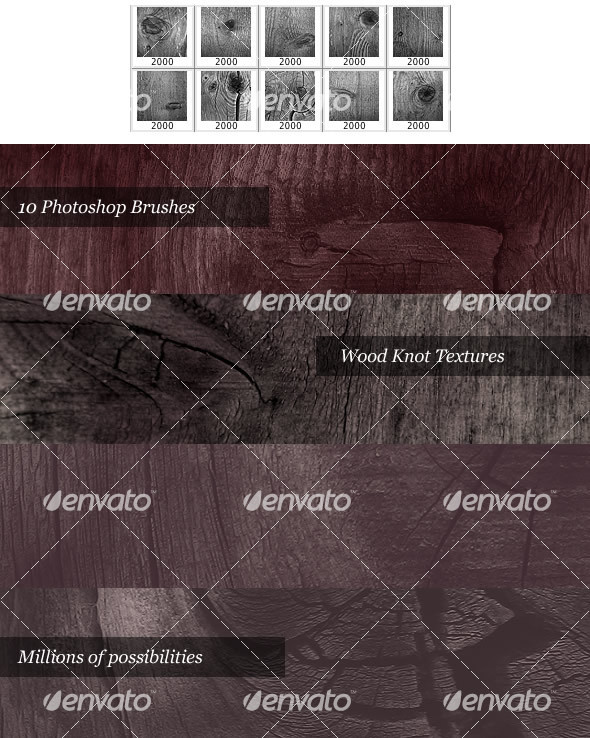 Wood Knot Brush Pack (10 Photoshop Brushes) - Texture Brushes
