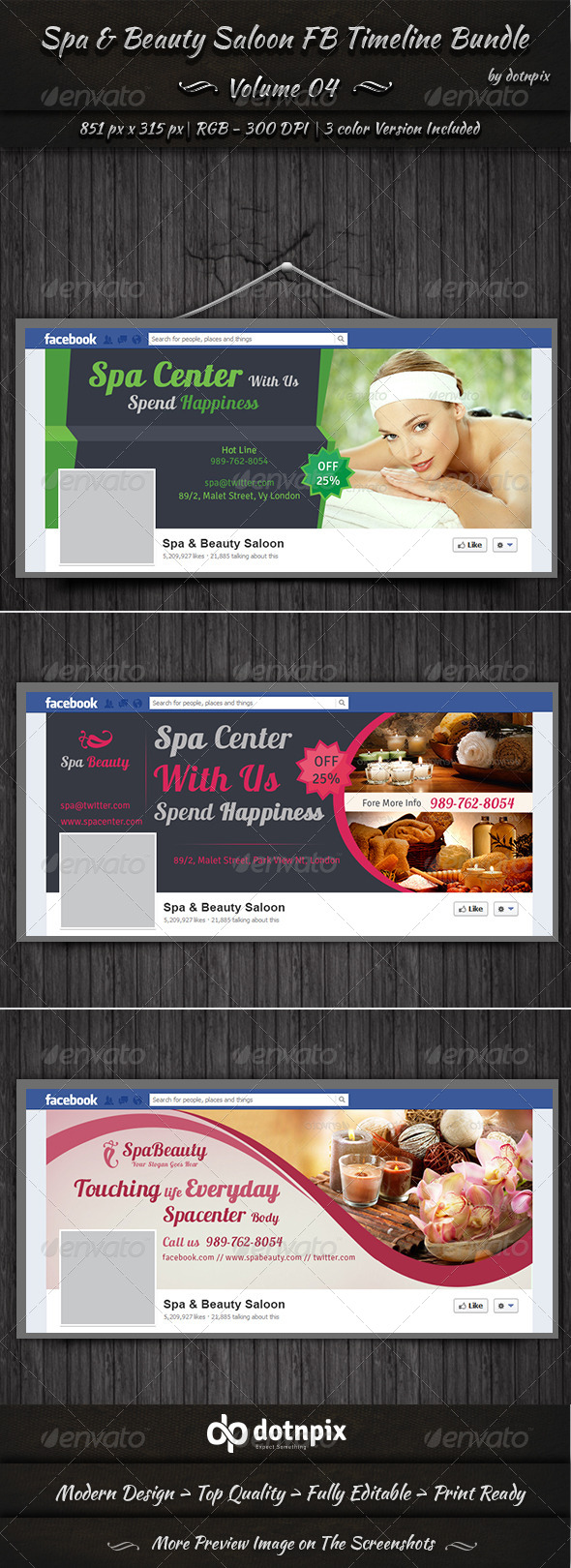Spa & Beauty Saloon FB Timeline Bundle Volume 4