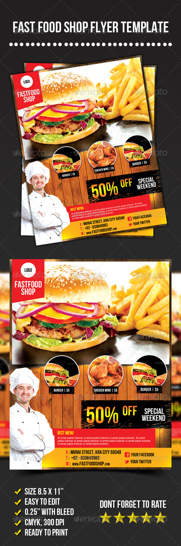 GraphicRiver Fast Food Shop Flyer 6997608
