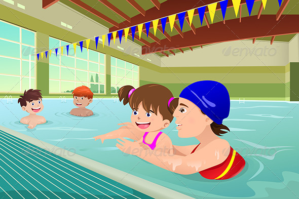 GraphicRiver Kids having a Swimming Lesson in Indoor Pool 6997622