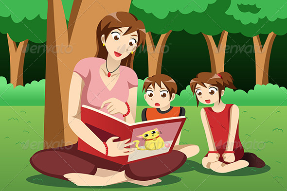 GraphicRiver Teacher Reading Book to Kids 6997699