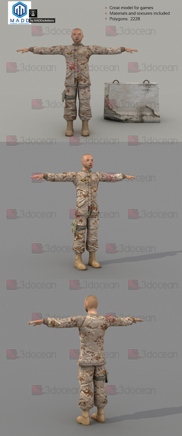 3DOcean Low Poly Soldier 6998365