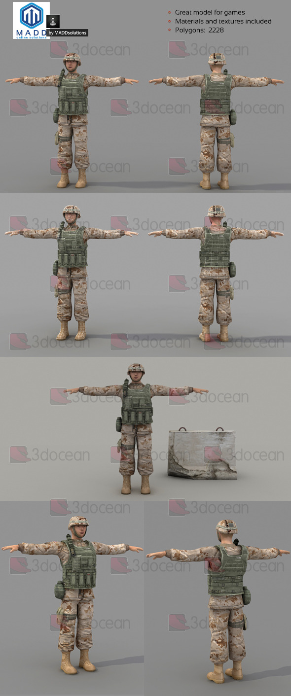 3DOcean Low Poly Soldier With Vest and Helmet 6998478