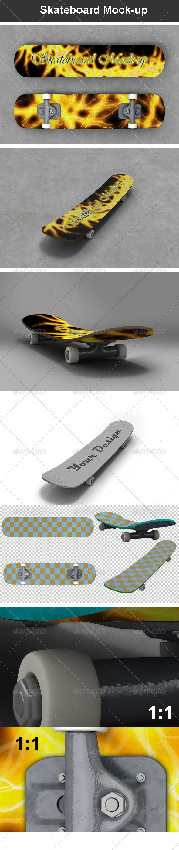 Skateboard Mock-up - Miscellaneous Product Mock-Ups