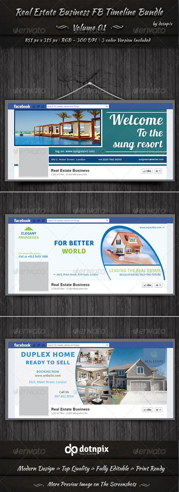 GraphicRiver Real Estate Business FB Timeline Bundle Volume 1 6998966