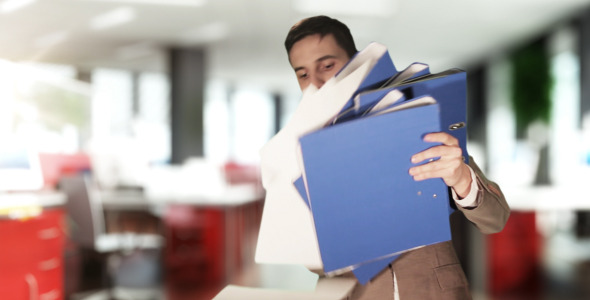 Worker Dropping the Folders