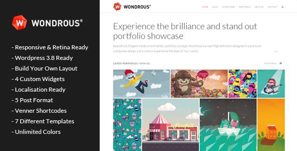 ThemeForest Wondrous Portfolio Multipurpose Wordpress Theme 6499011