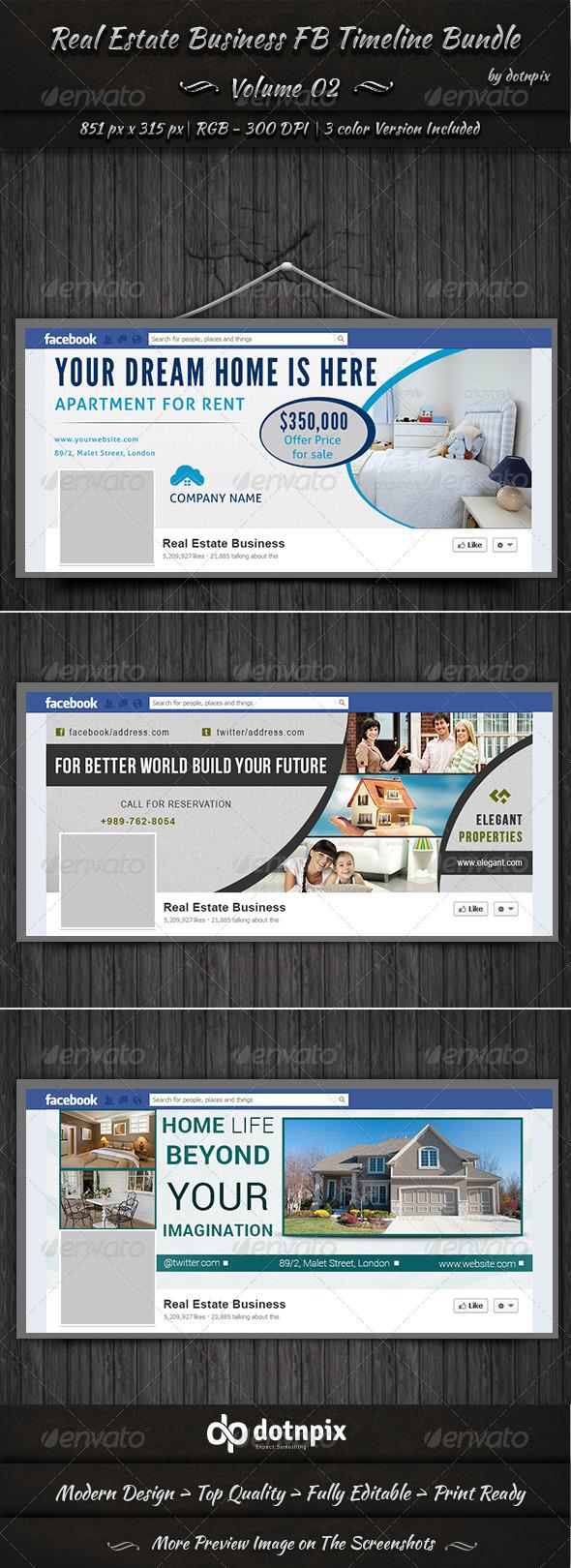 GraphicRiver Real Estate Business FB Timeline Bundle Volume 2 6999034