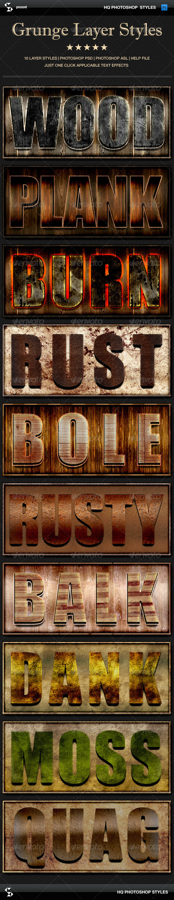 GraphicRiver Grunge layer styles wood rust nature 6999037